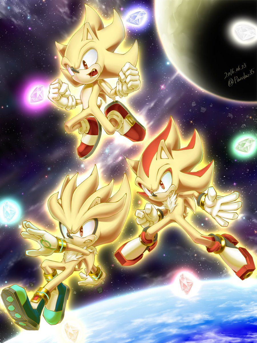 Sonic Shadow And Silver In Their Super Forms Sonic And Shadow Shadow The Hedgehog Silver The Hedgehog