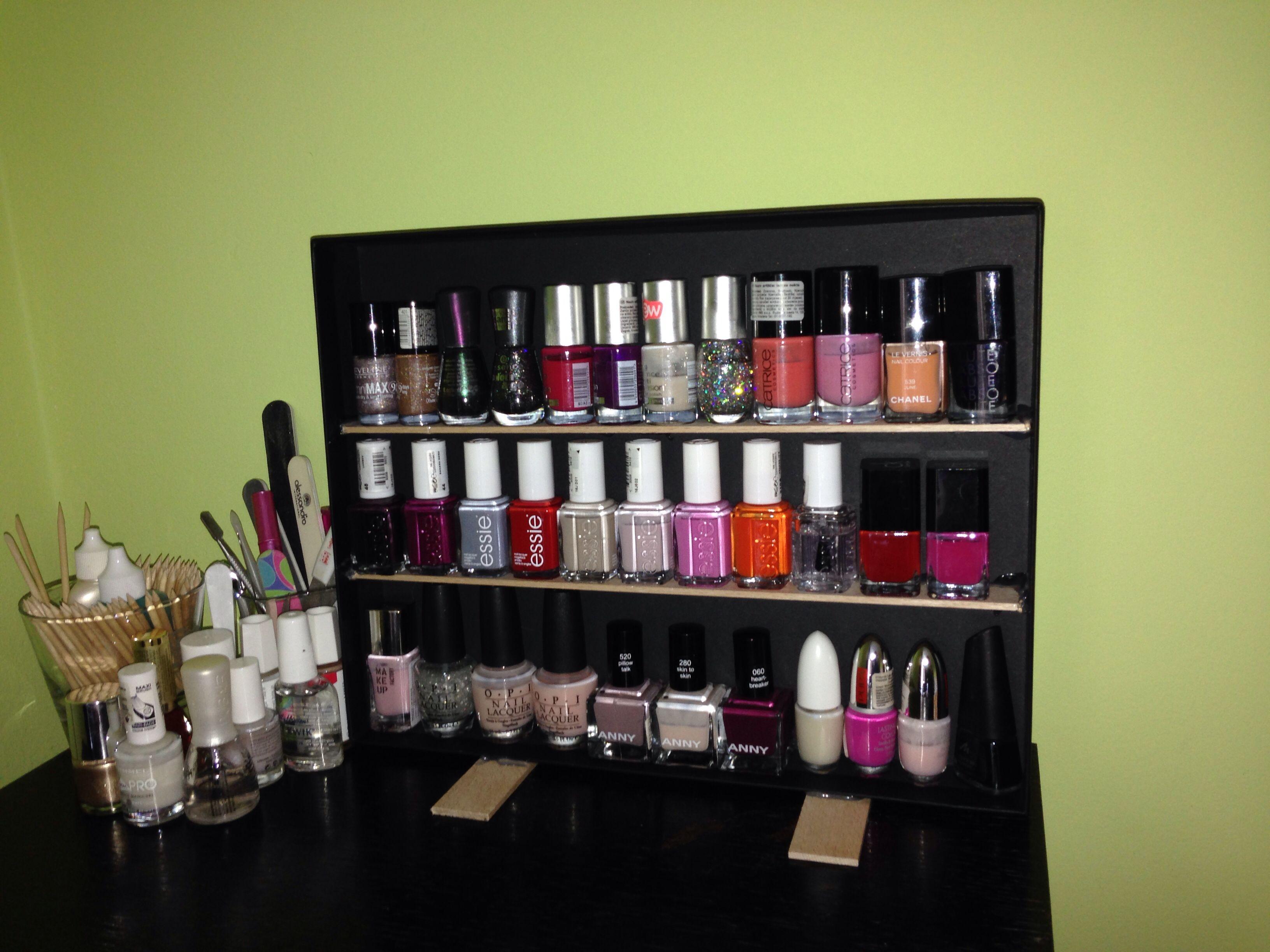 Nail polish rack DIY | Nagellack aufbewahrung, Nagellack