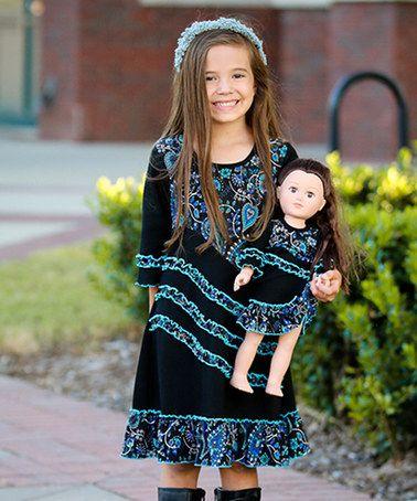 Look at this #zulilyfind! Turquoise Paisley & Black Emma Dress & Doll Dress - Girls #zulilyfinds