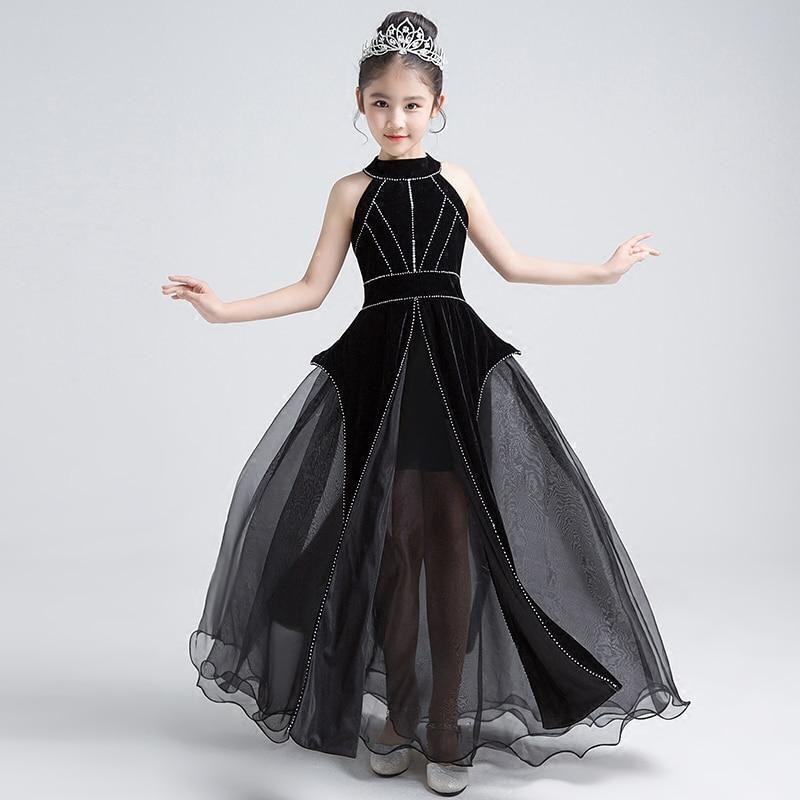 8f49bffb3ab Luxury Black Gothic Flower Girl Dress Princess Dress Halter Beading Ho – A  Thrifty Bride Shop