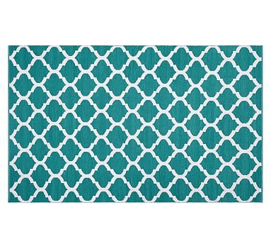 becca tile reversible indoor/outdoor rug, 5x8', teal | *outdoor
