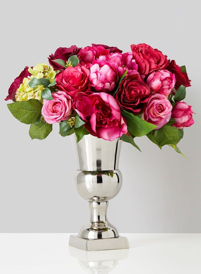 10 3/4in Nickel Urn | Urn, Calla lilies and Hydrangea