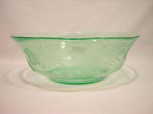 MacBeth-Evans Glass THISTLE Depression Green Large Fruit Bowl ~ Rare