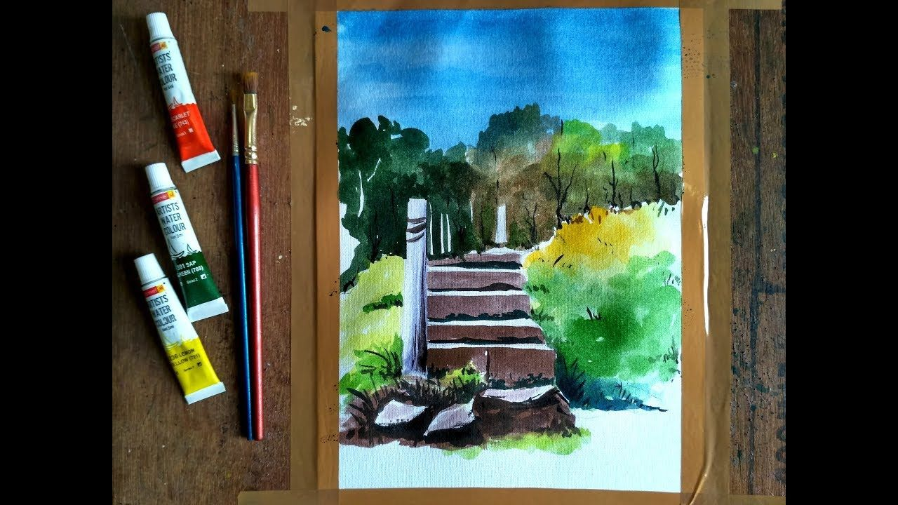 How To Draw Stairs In Watercolor Paint With David Youtube