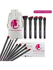 14 Piece Best Makeup Brushes, Start Makers Makeup Brush Set Face Blush Contour Eyeliner Eyebrow Brushes (Rose Red Black )
