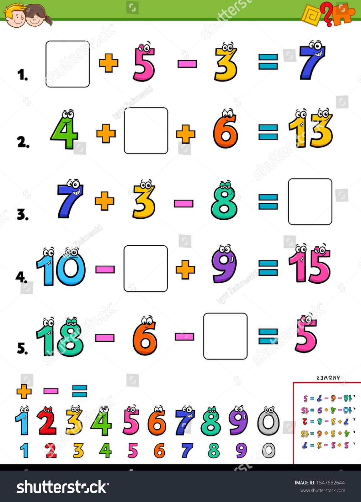 Cartoon Illustration Of Educational Mathematical