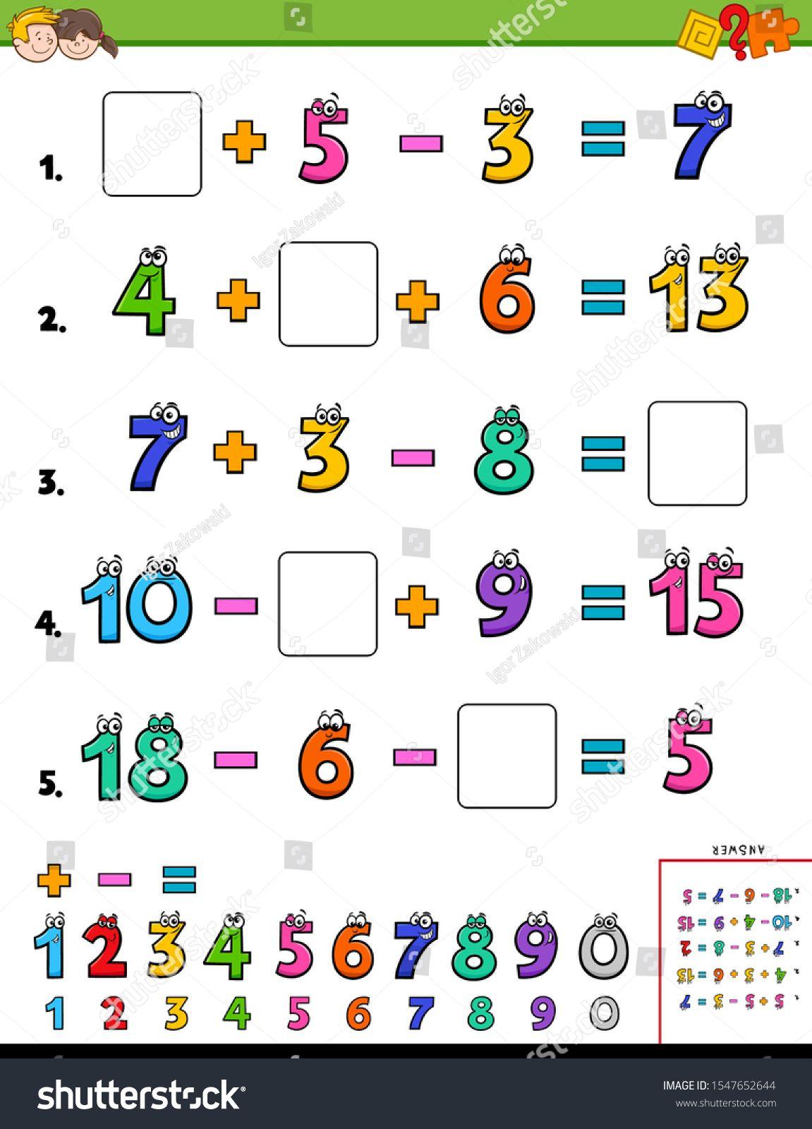 Cartoon Illustration Of Educational Mathematical
