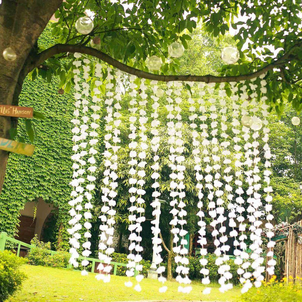 6FT White Silk Hanging Flower Garland Backdrop Curtain