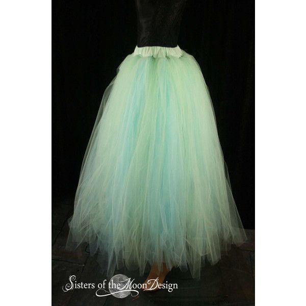 0b82c25ec4 Spring Wedding Tulle Skirt Streamer Tutu Floor Length Formal Aqua Mint...  ($150) ❤ liked on Polyvore