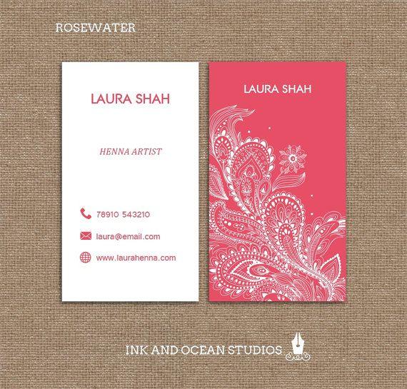 Printable Stylish Elegant Henna Style Boho Vintage Business Etsy Vintage Business Cards Henna Style Visiting Card Design