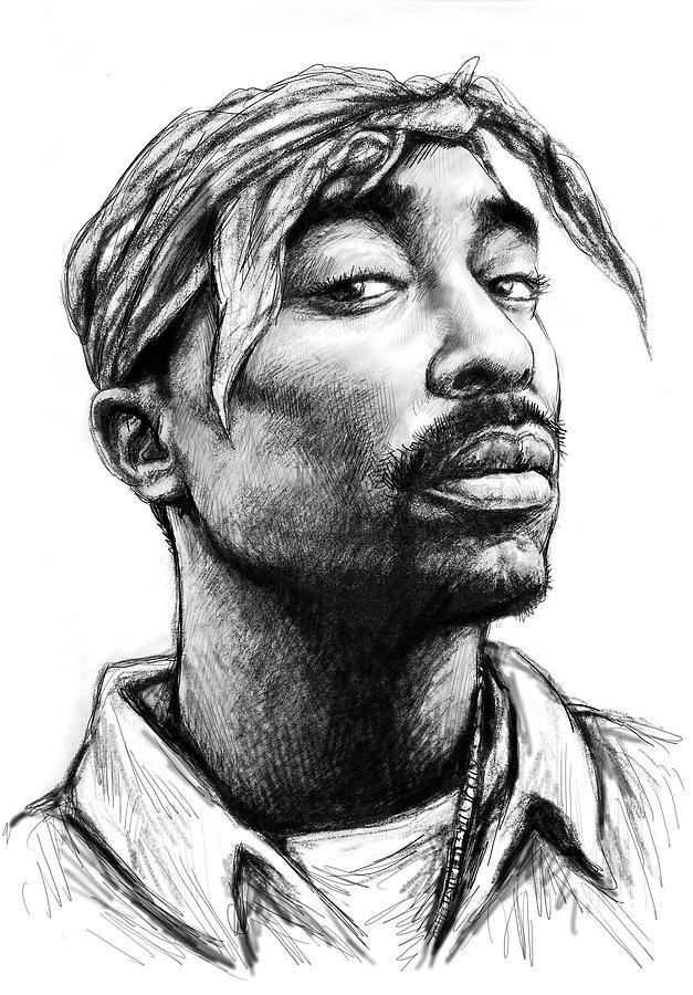 Drawing Lines In Jcanvas : Tupac shakur art drawing sketch portrait painting black