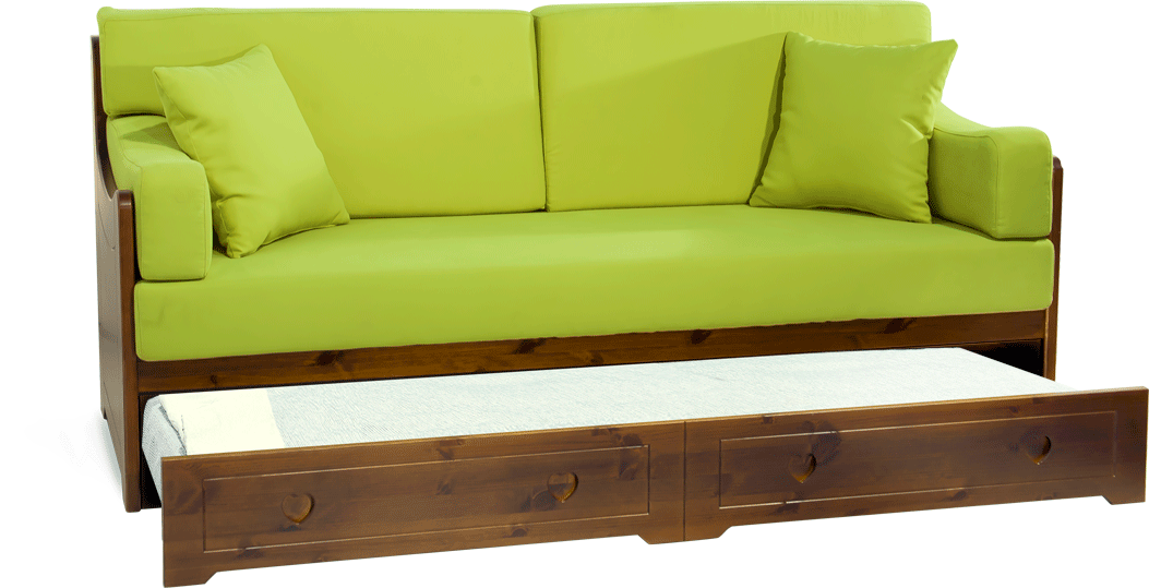 Divano letto san candido completamente in legno massello for Divano letto singolo arredamento