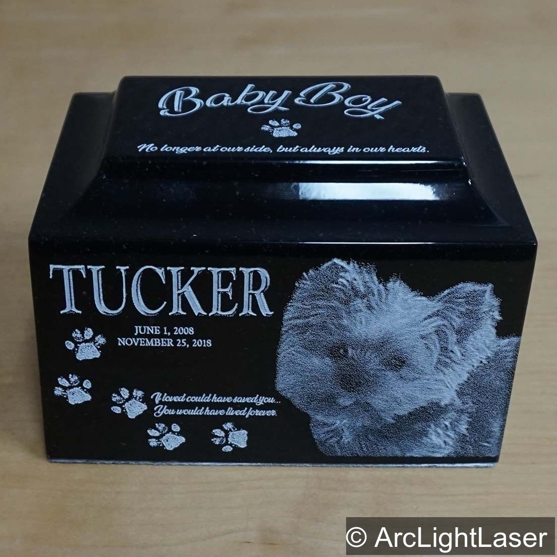 Pet cremation urn laser engraved pet urn custom photo pet