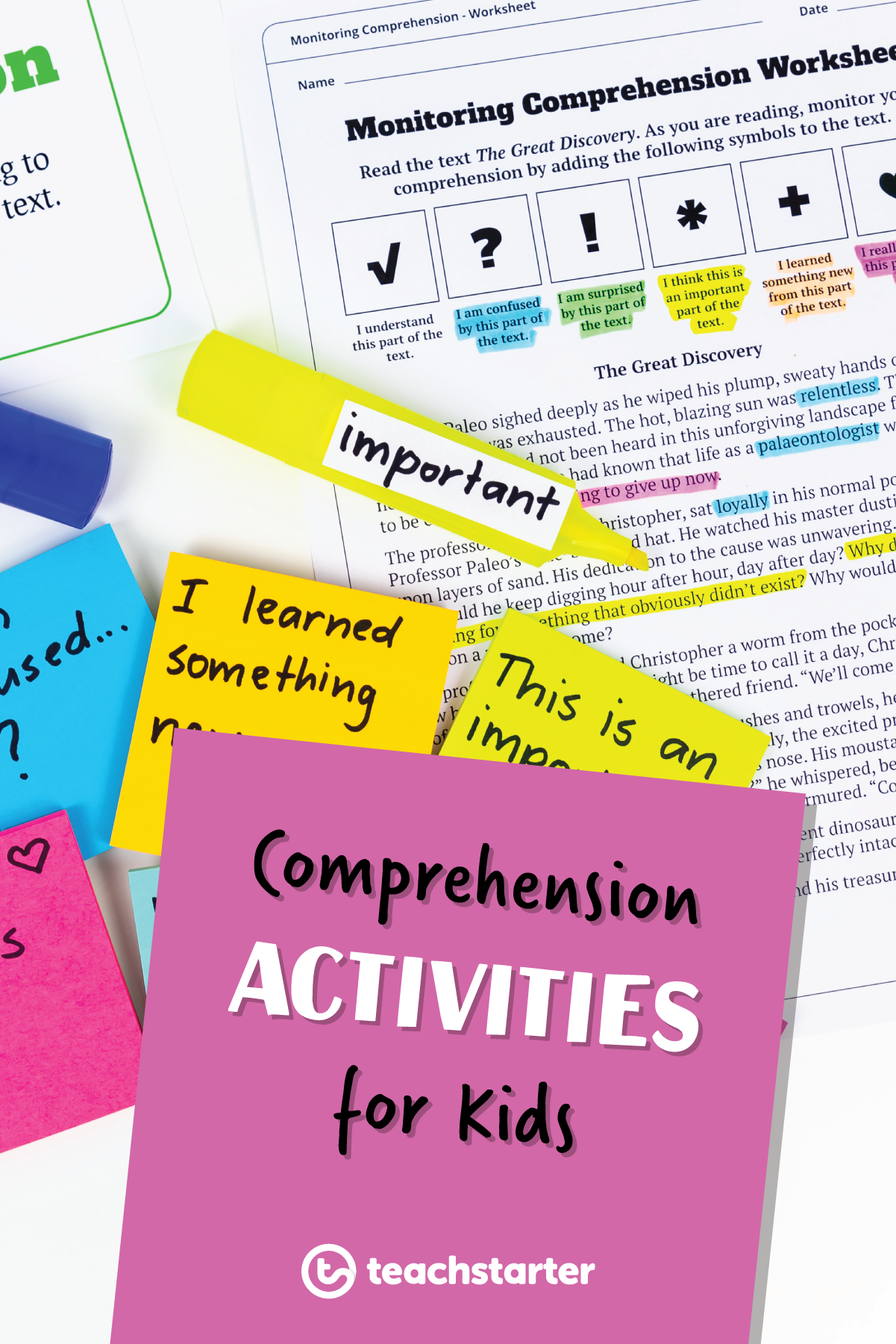 Monitoring Comprehension Worksheet Teaching Resource With