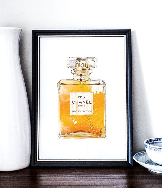 72fd26ab864a Chanel No 5, Printable Art, Perfume Bottle, Wall Art, Illustration, Bedroom  Art