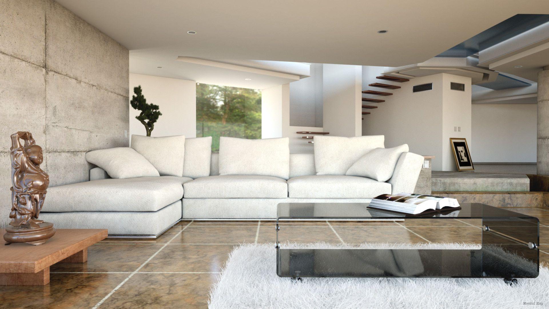 Living Room 3D Design Modern Realistic Interior Living Room 3D Model  3D Model  3D