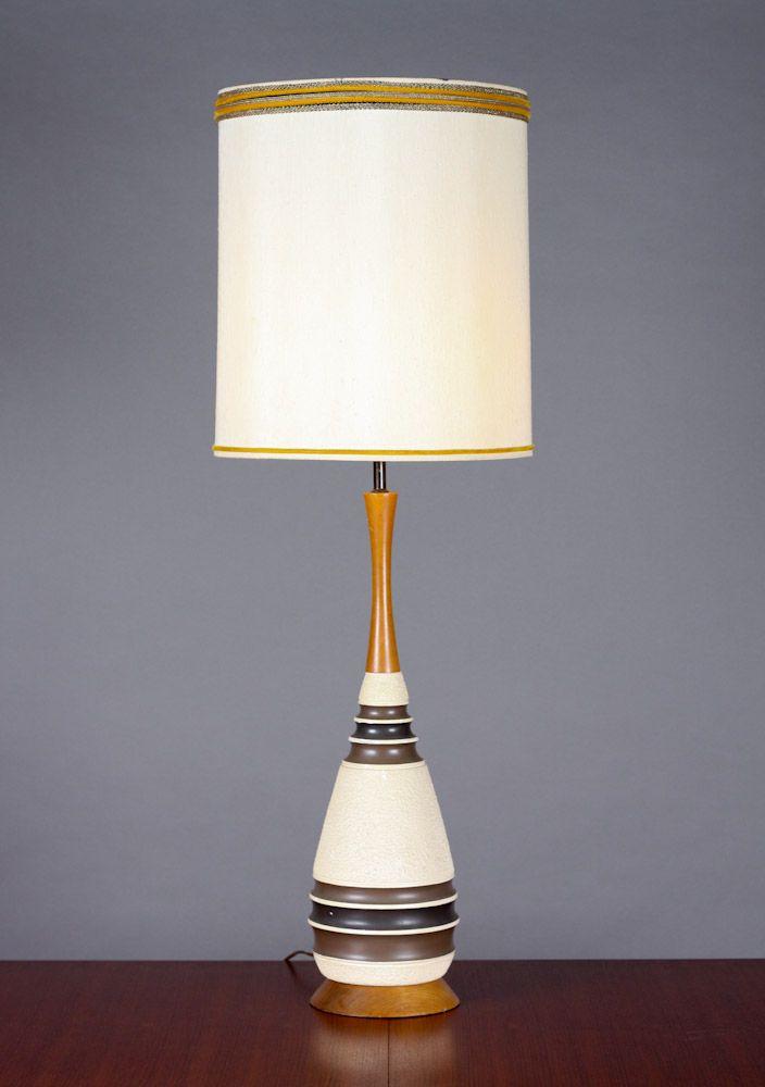#530 U2013Mid Century / Danish Modern Table Lamp U2013 Ribbed + Textured Ceramic  Body