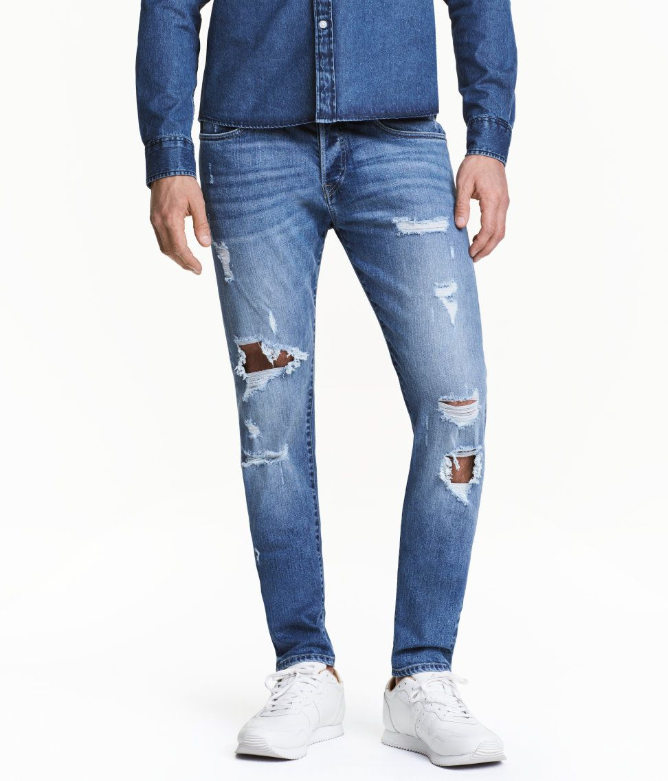 f26293ce Skinny Low Trashed Jeans | Denim blue | Men | H&M IN | Men's Tops ...