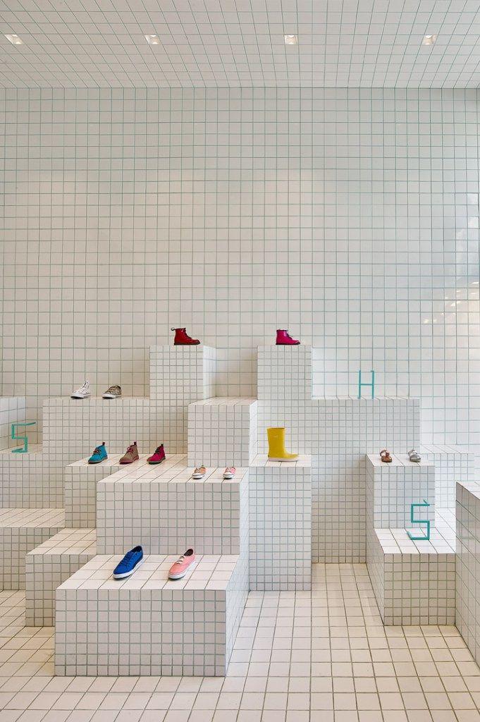 Store design idea: total white tiling, Little Shoes in Barcelona ...