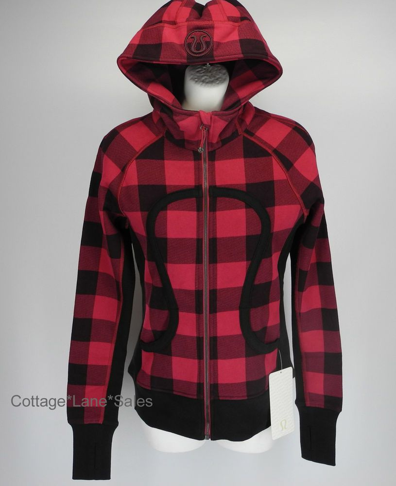 New lululemon scuba hoodie ii camp check bumble berry bordeaux plaid sz 6 jacket plaid camps - Hooi plaid ...