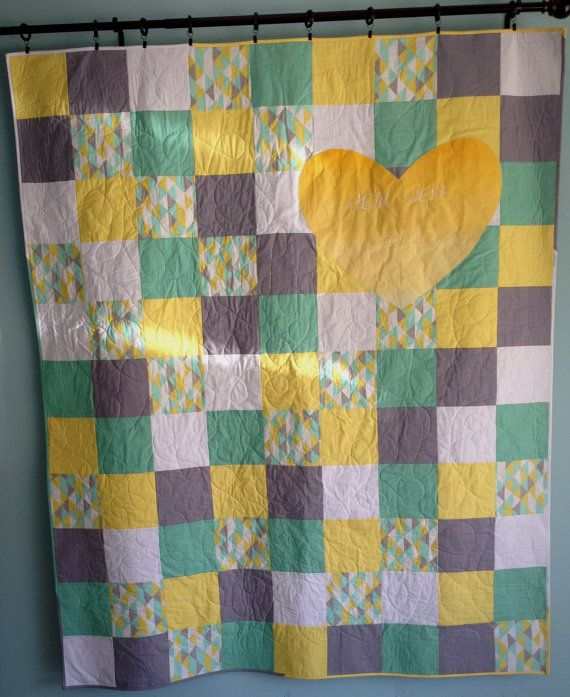 Modern Wedding Quilt Being Used For Guest Book. 66x72