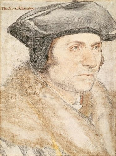 Sir Thomas More (1478-1535) - Hans Holbein the Younger (c. 1497-1543); Black and coloured chalks, the outlines pricked for transfer, c.1526-7