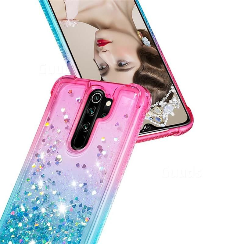 Rainbow Gradient Liquid Glitter Quicksand Sequins Phone Case For Mi Xiaomi Redmi Note 8 Pro Pink Blue Xiaomi Redmi Note 8 Pro Cases Guuds Phone Cases Blue And Purple Pink Purple