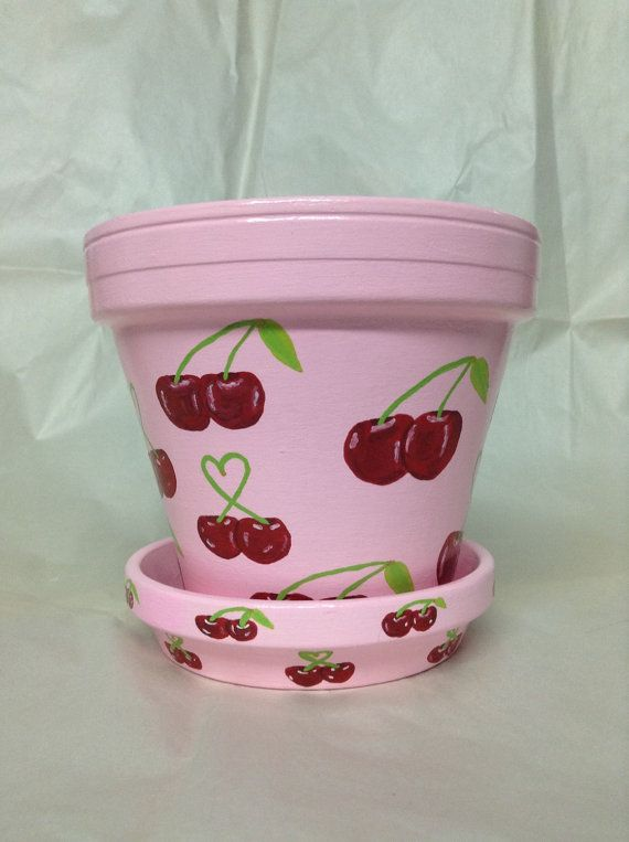 Hand painted pink flowerpot with red by SheilasGardenGirls on Etsy