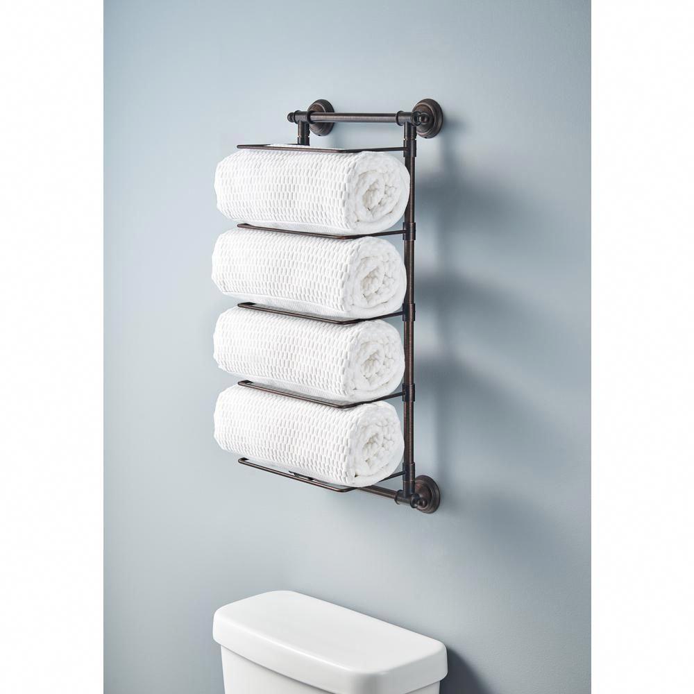 Delta 5 Bar Wall Mounted Towel Rack In Venetian Bronze Hextn01 Vbr The Home Depot In 2020 Diy Bathroom Storage Diy Bathroom Small Bathroom