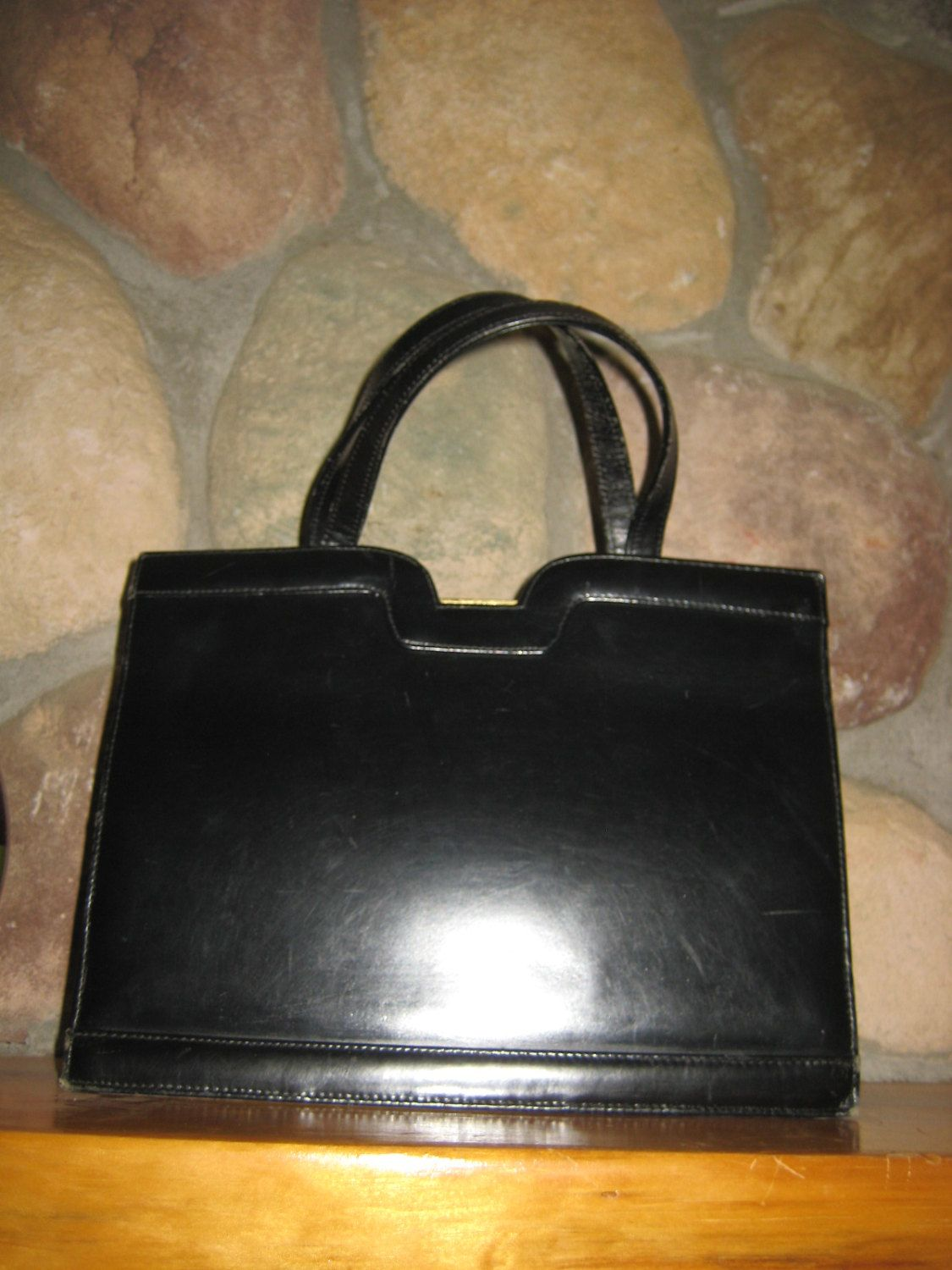 Vintage 1960s Dofan Made In France Black Leather Purse Free Shipping By Piffy500 On Etsy