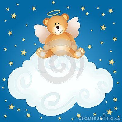 Fundo da nuvem do bebê do anjo do urso de peluche