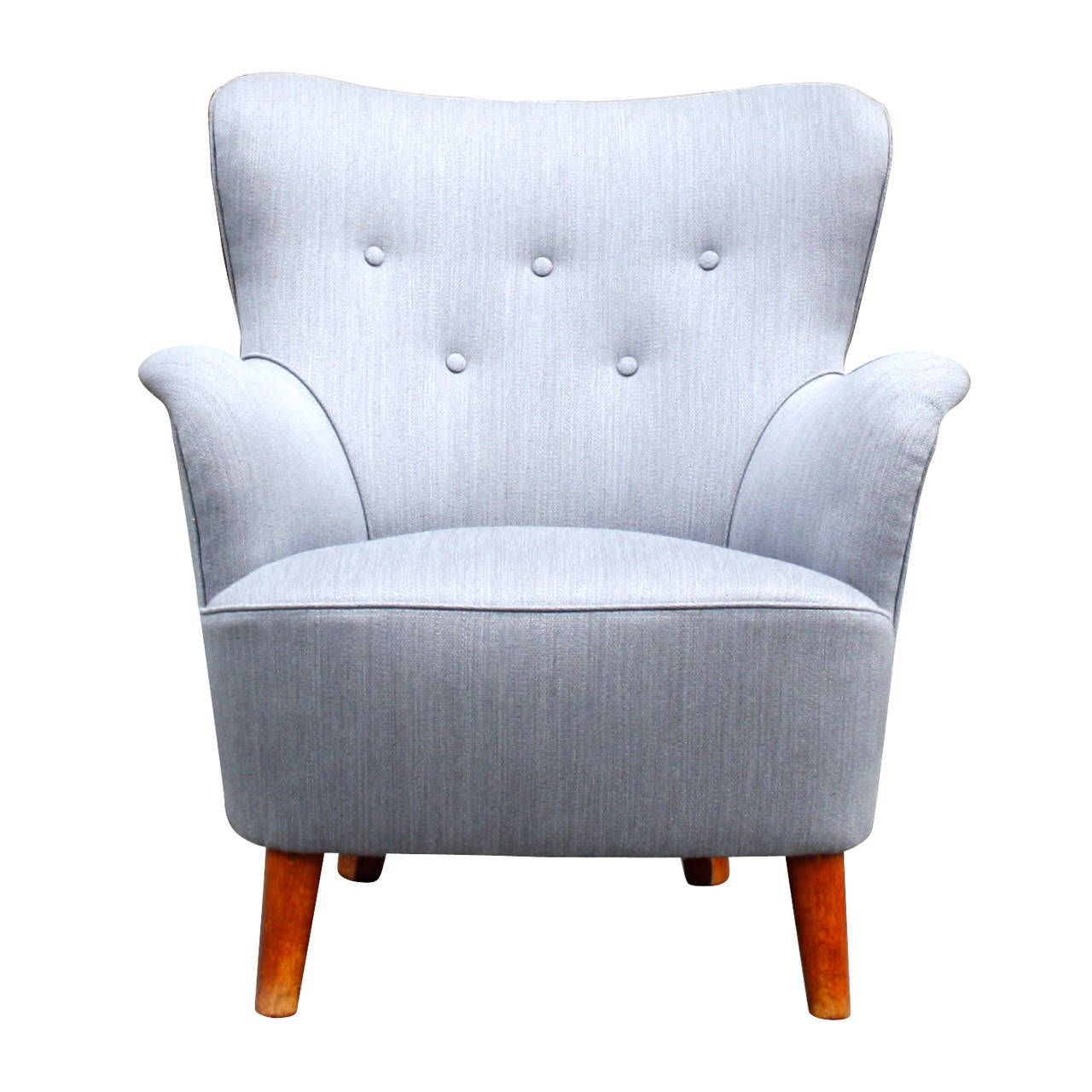 Attractive Beautiful Grey Small Scale Wingback Armchair
