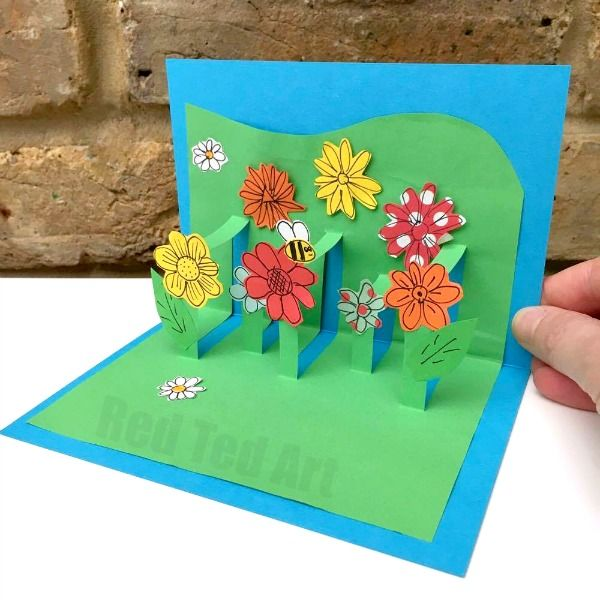 3d Flower Card Diy Pop Up Cards For Kids Crafts For Kids To Do