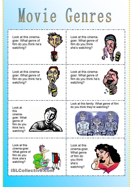 Worksheets Genre Worksheets fun movie genres cards english night pinterest cards