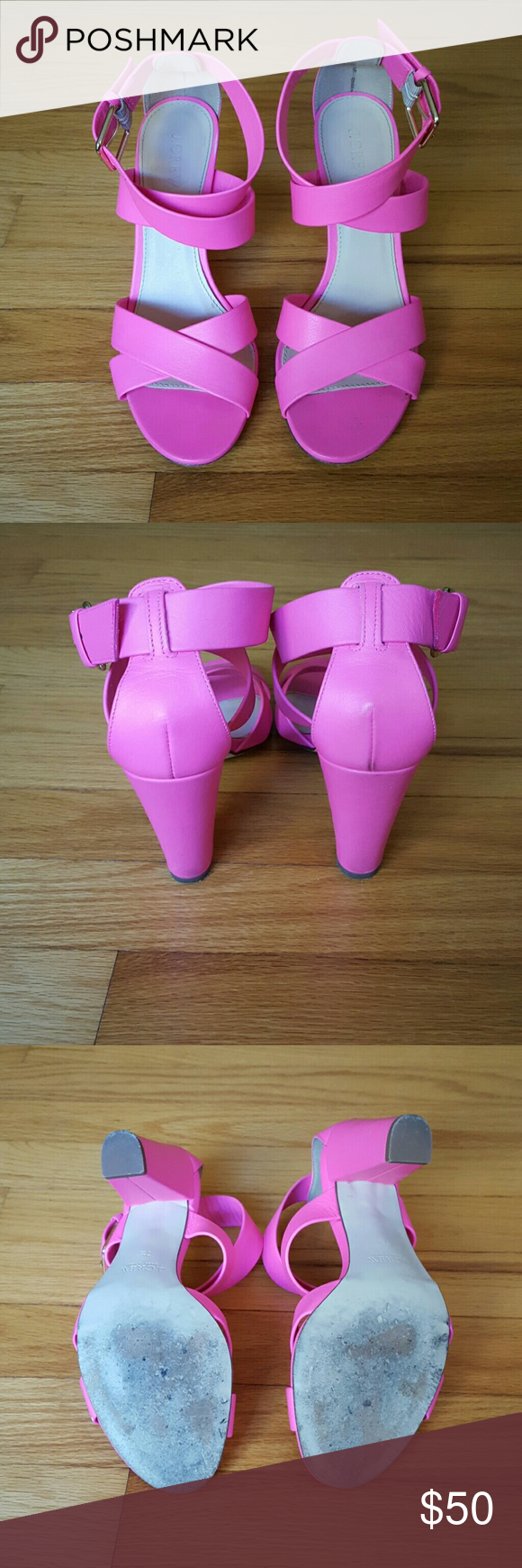 J.Crew hot pink strappy heels. Womens size 7 1/2 Gently worn J. Crew hot pink strappy heels in size 7 1/2. Small scuff on the back of right heel (see 4th picture) and small scuffing on bottom of heels from normal wearing. Heel height is 3 3/4 inches. J. Crew Shoes Sandals