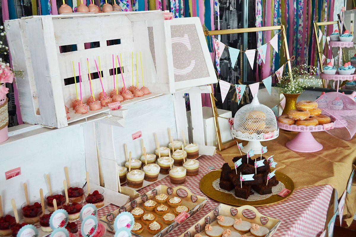 Mesa dulce shabby chic mesa dulce rosa y celeste - Mesa shabby chic ...