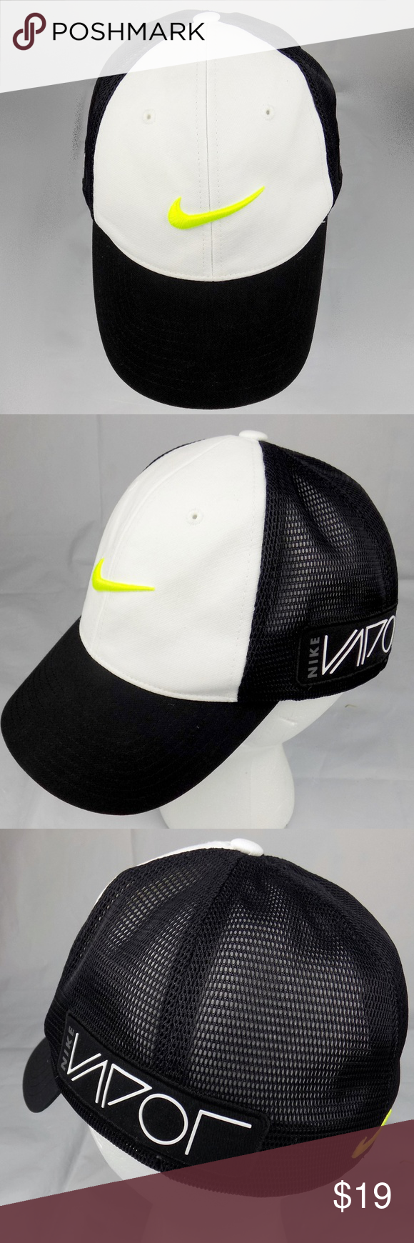 Nike Golf Tour Cap RZN VAPOR Mesh lack White S/M Nike Golf Tour Cap Black White Yellow Hat Mens Size S/M RZN VAPOR Mesh Flex Fit  Condition: Good used condtion, please see photos for details  Ships fast same day or next business day.  Feel free to ask questions,  David & Lin  MT0031 Nike Accessories Hats