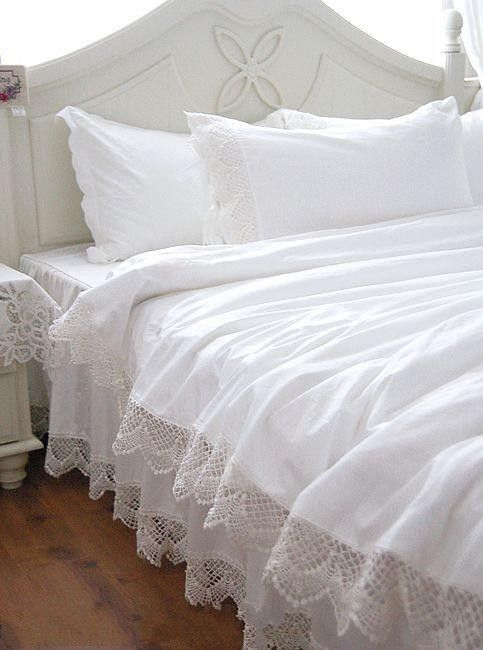 Wholesale White Lace Bedspread Princess Bedding Sets Queen King