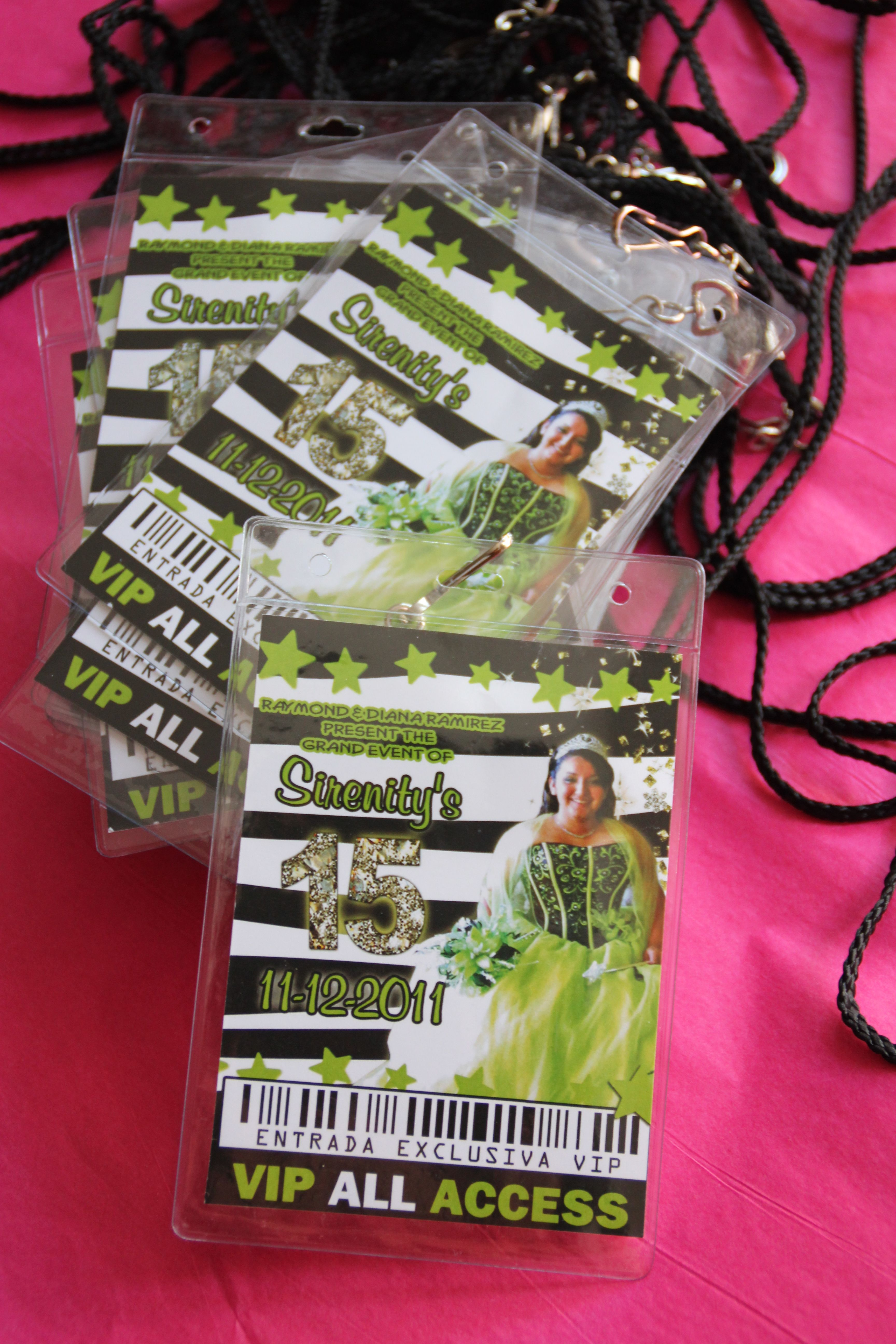 quinceanera vip pass invitations at eventphotocards com 866 334 4246