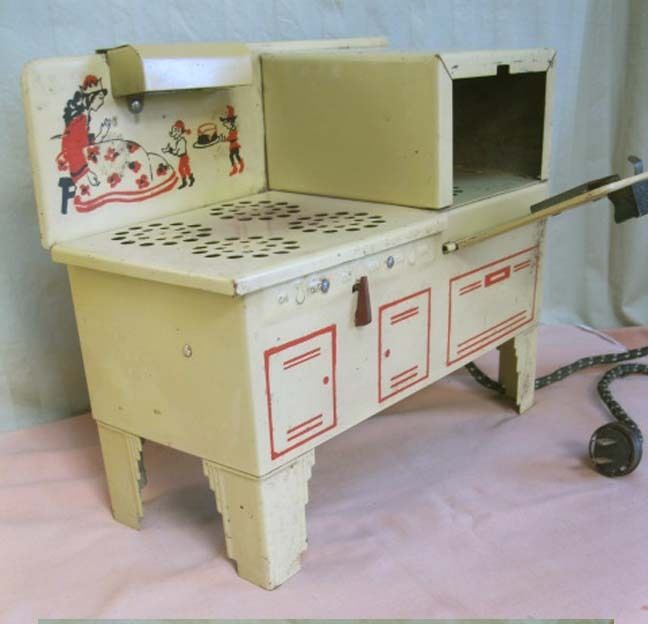 Vintage Child S Empire Metal Ware Electric Stove C 1940 Original Art