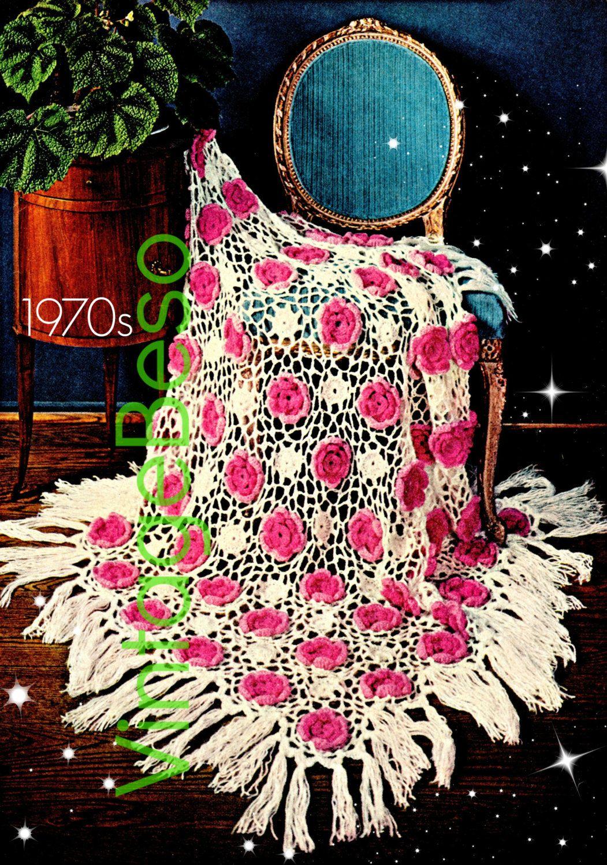 Afghan Crochet PATTERN Vintage Rose Afghan 70s Rose Crochet Pattern ...