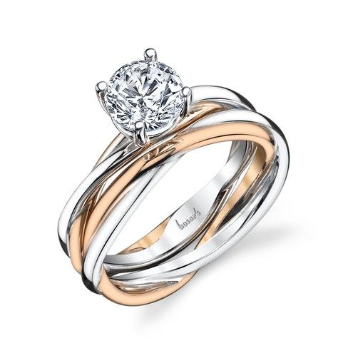fe9bb38b3b94a White and rose gold twisted solitaire Engagement and Wedding ring ...