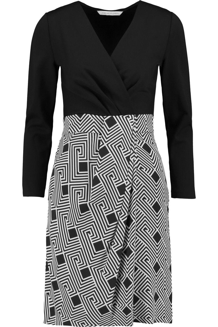 DIANE VON FURSTENBERG Gianna Silk And Printed Stretch-Jersey Mini Dress. #dianevonfurstenberg #cloth #dress