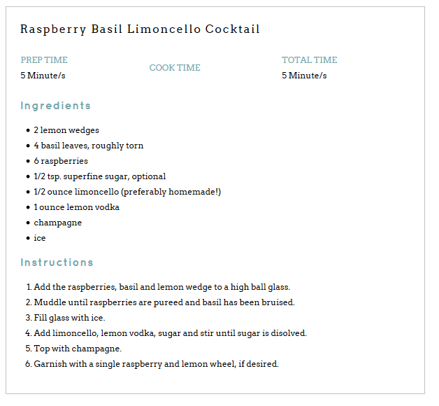 Raspberry Basil Limoncello Cocktail #limoncellococktails