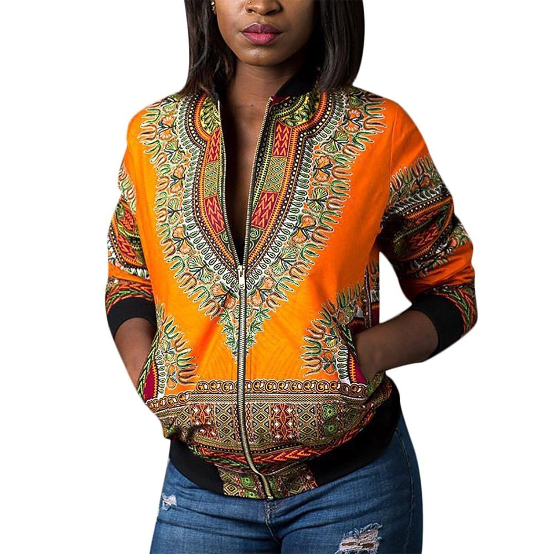 Women S African Dashiki Bomber Jackets Tradional Style Zip Up