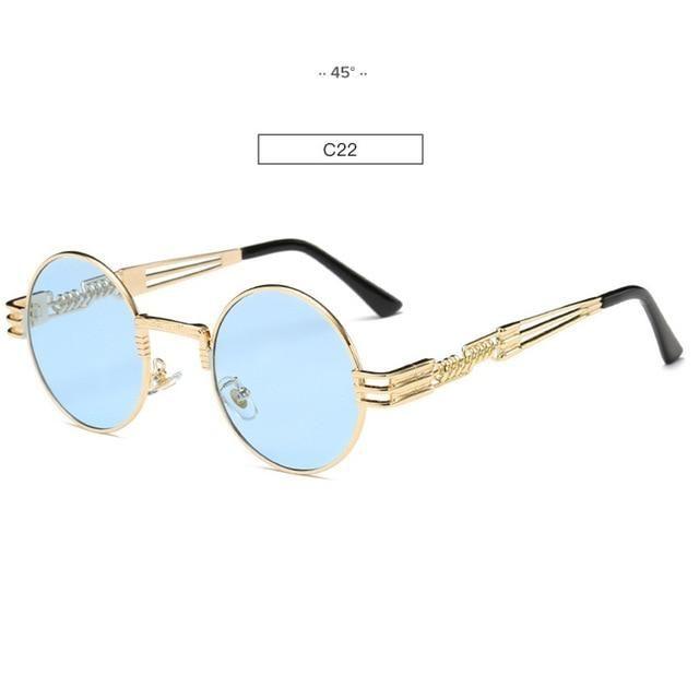 027881de0b Gold Metal Fashion John Lennon Round Sunglasses Steampunk Sunglasses Mens  Womens Retro Vintage Coating Mirrored Eyewear