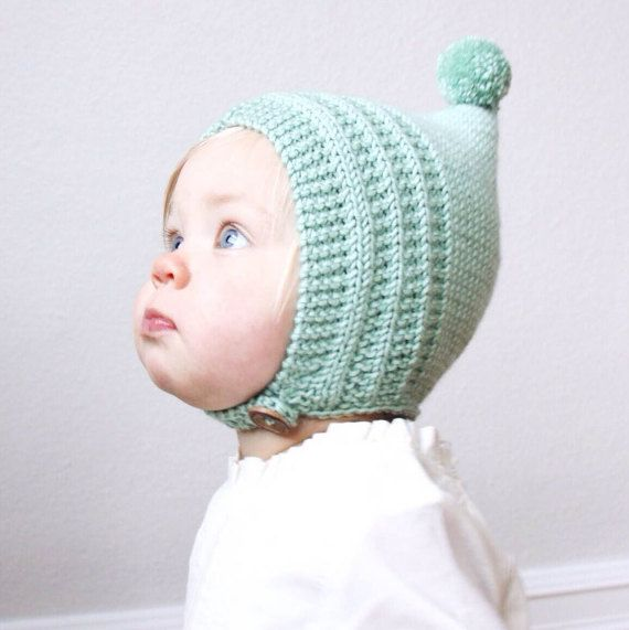 38bb1ebdae78 KNITTING PATTERN PDF File - Knit Pixie Bonnet Pattern - Baby Bonnet ...