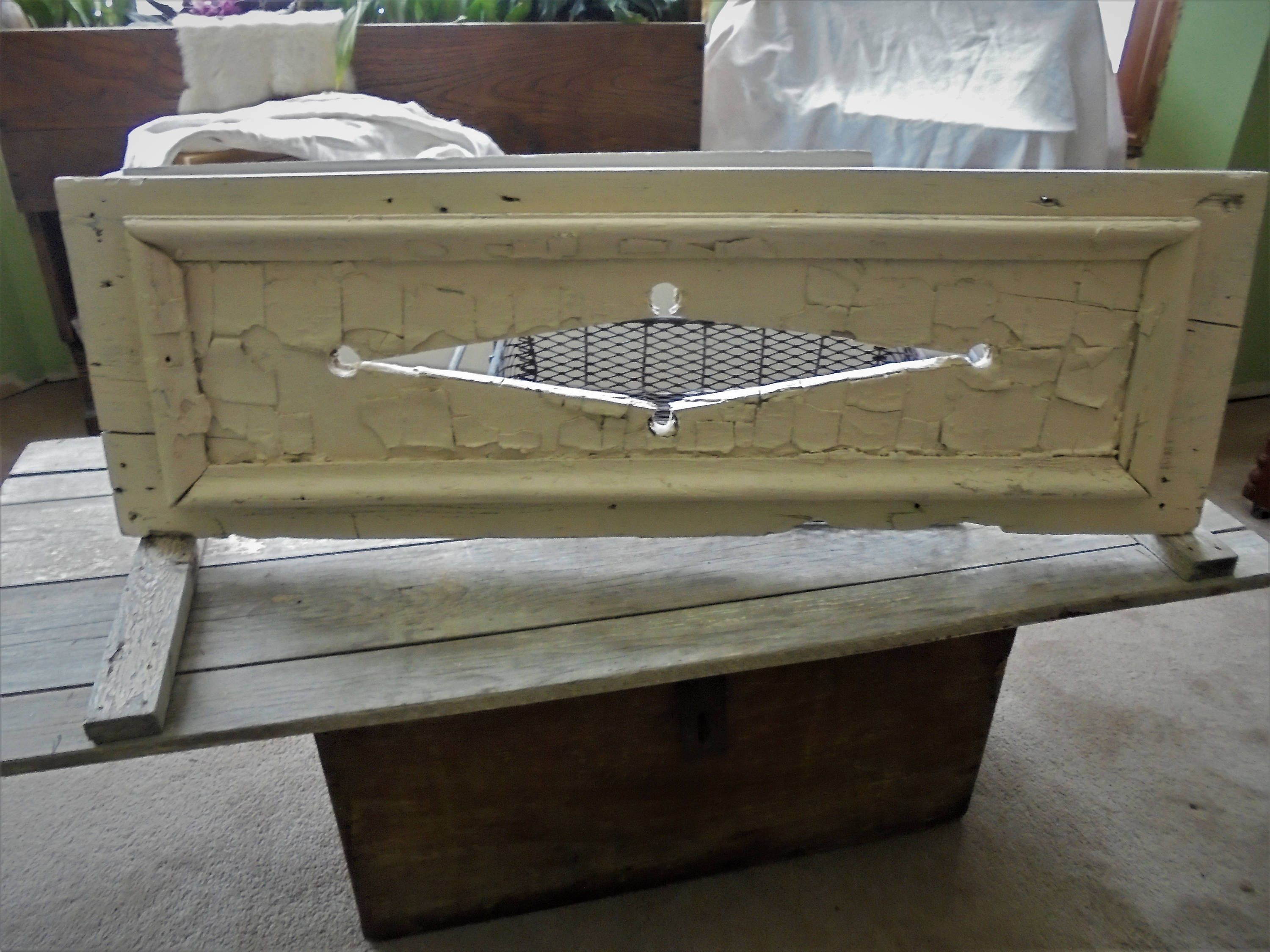 Architectural Salvage Shutter Chippy Cottage Decor Rectangle