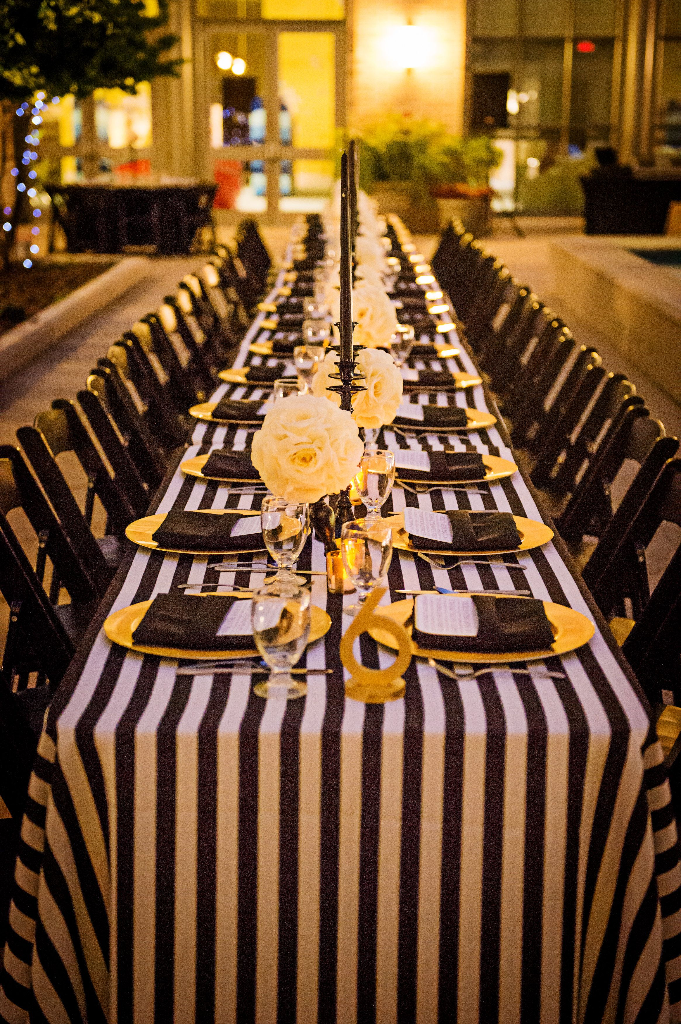 Wedding decorations black and gold  gorgeous wedding tablescape with gold table numbers from Z Create