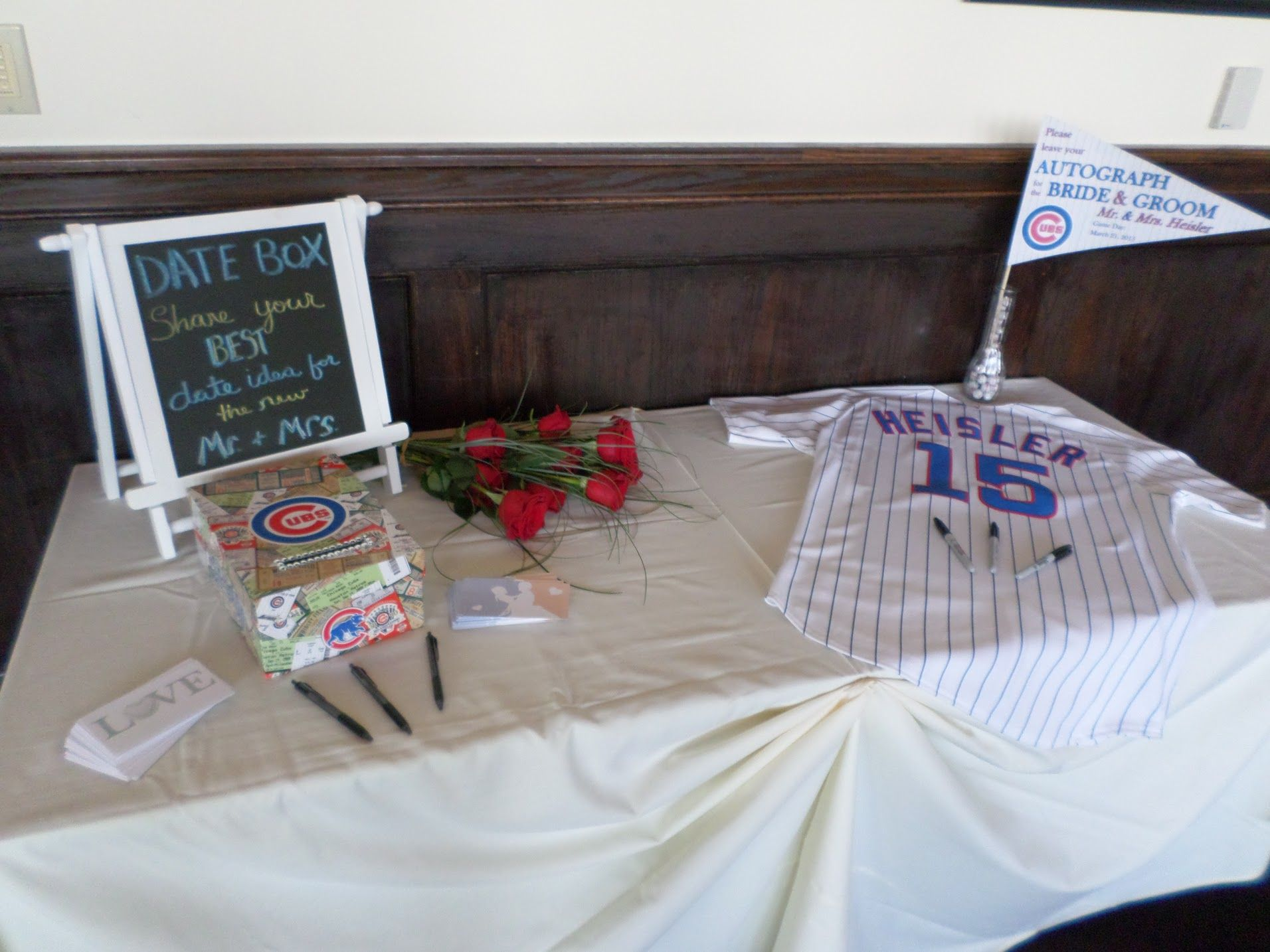 Baseball Wedding Cubs Date Night Suggestion Box Jersey Guest Book